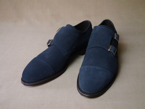 11.Cap double monks_Suede_NVY正面